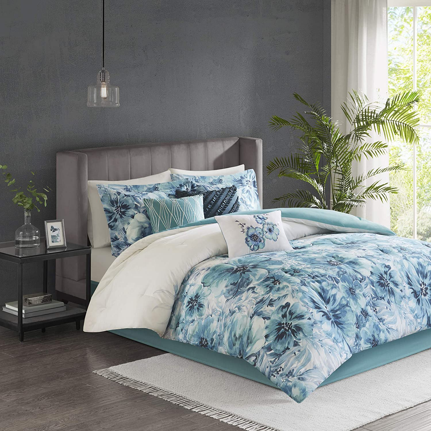 Madison Park Enza Comforter Reversible Floral Flower Watercolor Print Cotton Percale Embroidered Ruffle Pleated Pillow Soft Down Alternative Hypoallergenic All Season Bedding-Set, Cal King, Teal