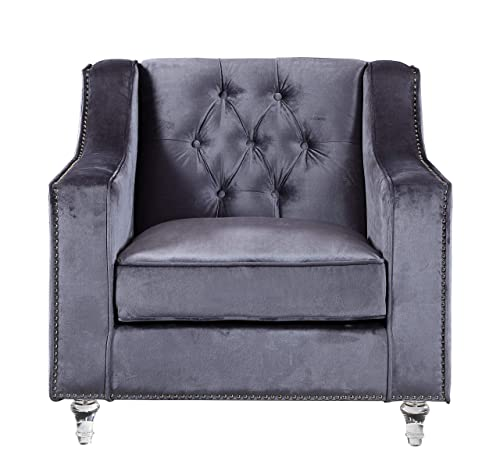 Iconic Home Grey Dylan Velvet with Silver Nail head Trim Round Acrylic Feet Club Chair