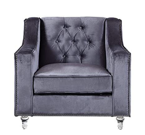 Magnificent Iconic Home Fcc2576 An Grey Dylan Velvet With Silver Nail Head Trim Round Acrylic Feet Club Chair Machost Co Dining Chair Design Ideas Machostcouk