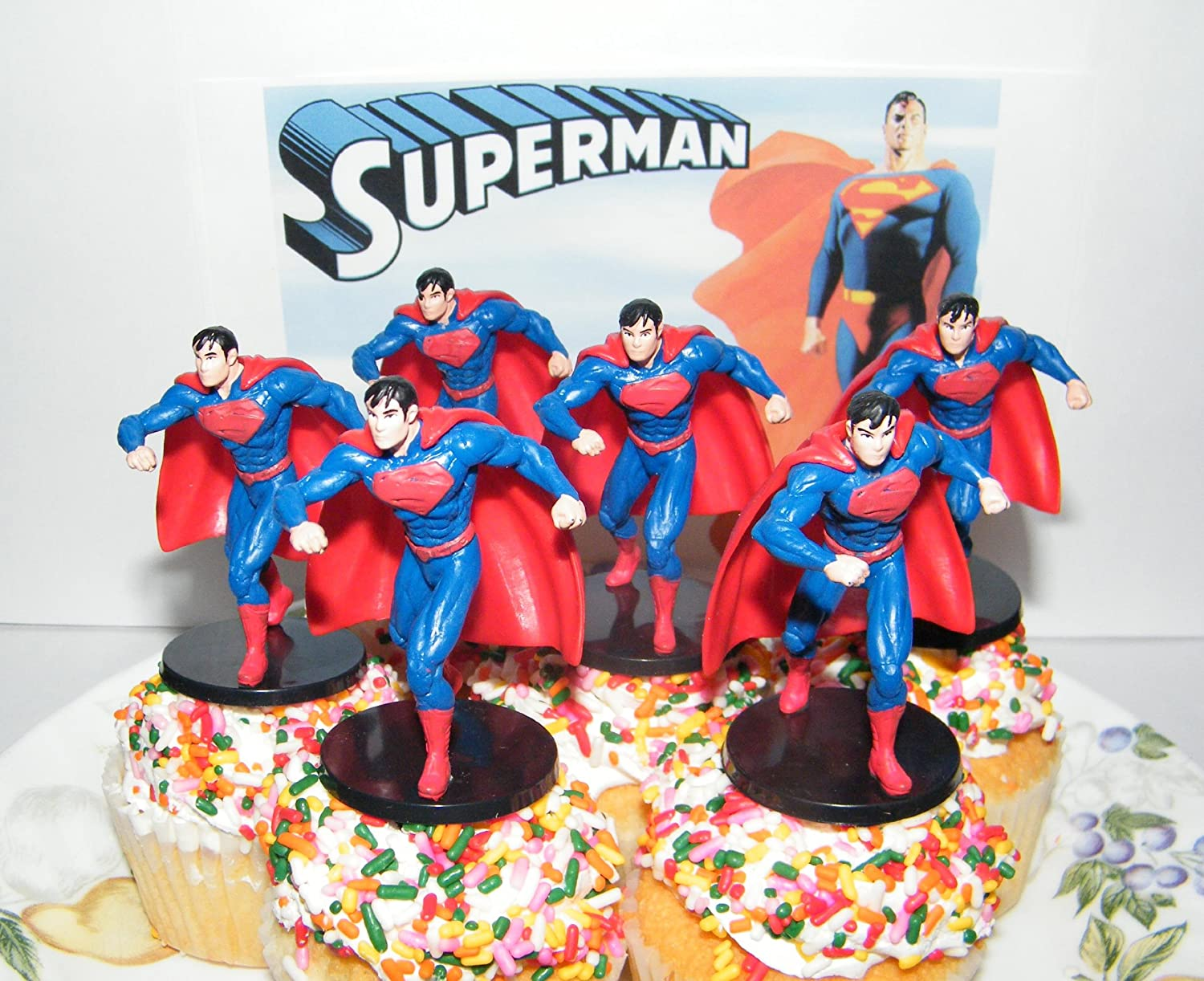 Amazon Com Dc Super Hero Superman Figure Toy Set Of 6 Cake Toppers
