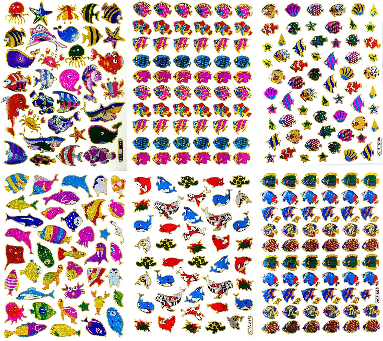 amazon com fish007 6 sheets of scrapbook fish stickers fish