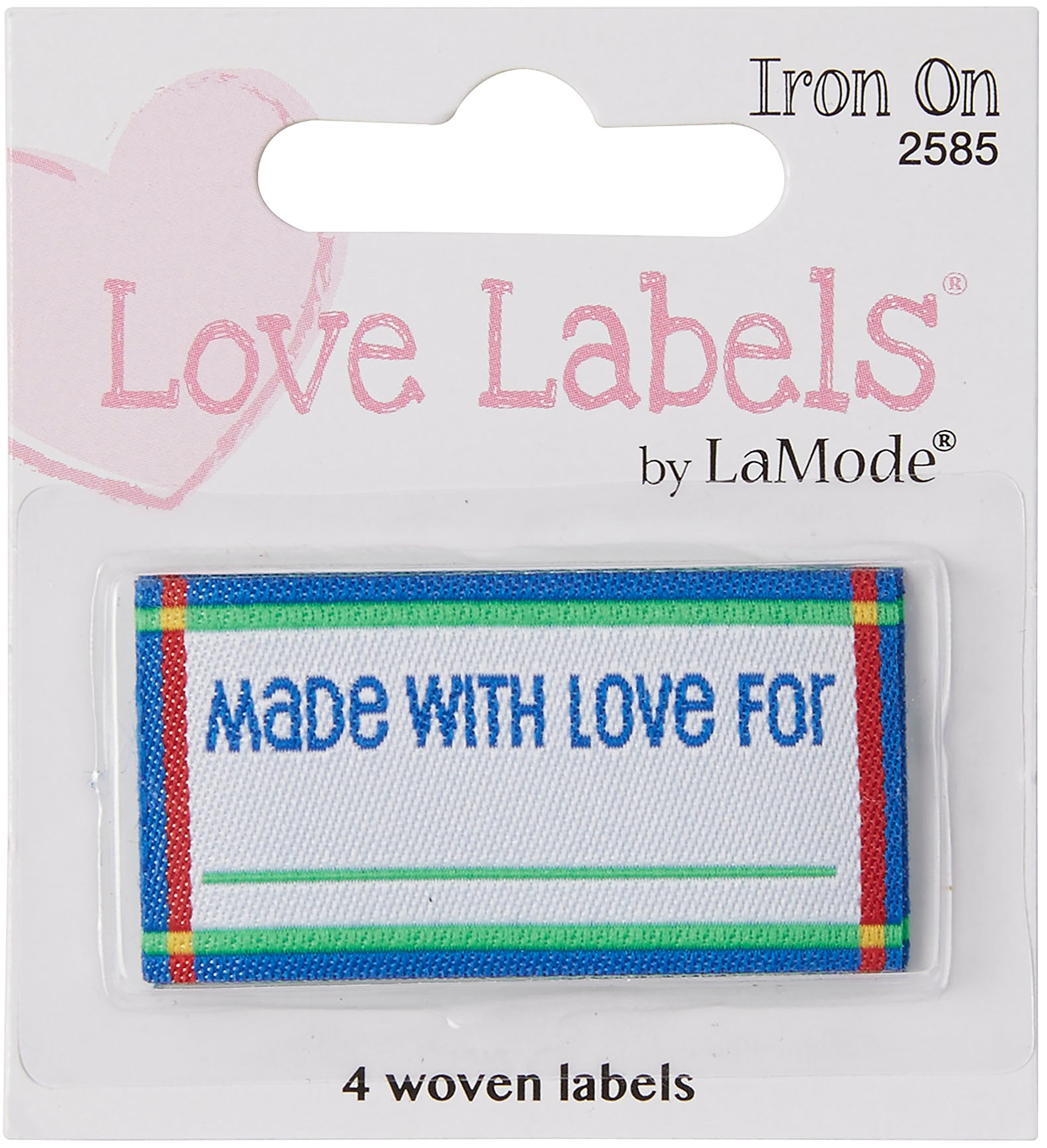 Blumenthal Lansing Iron-On Lovelabels Chipboard, Made with Love, Blue