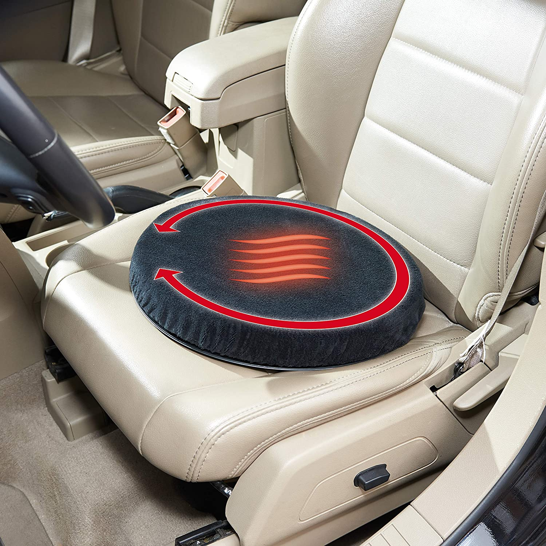 Eurotops Beheizbares Drehsitzkissen Sitzkissen Auto-Drehkissen 5 cm Polsterung Einfaches EIN-und Aussteigen