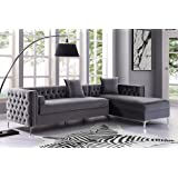 """Inspired Home Giovanni Grey Chaise Sectional Sofa - 115"""" Right Facing   Velvet Tufted   Storage   Metal Legs"""