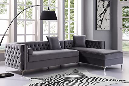 Inspired Home Grey Chaise Sectional Sofa