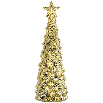 Werchristmas Pre Lit Champagne Gold Christmas Tree Decoration 36 Cm Gold