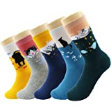Cute Socks Women Winter Thermal High Quality Cotton Ladies Novelty Funny Animal Socks for Girls Cat Unicorn Accessories Princess Farm Funny Owl 5 Pack My Story Gift Box 4-8