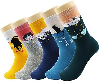 CityComfort Calcetines Mujer Invierno - Pack De 5 Calcetines De Algodón Suave Cómodo Para Niña Y Mujer Adulto Unisex Talla 36-40 (Multicolor gato): Amazon.es: Ropa y accesorios