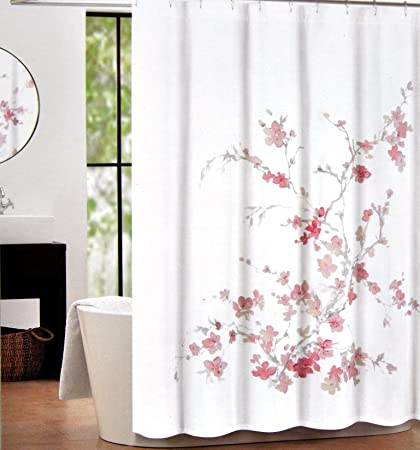 Tahari Home Printemps Salmon Pink And Grey Floral Branch Fabric Shower Curtain