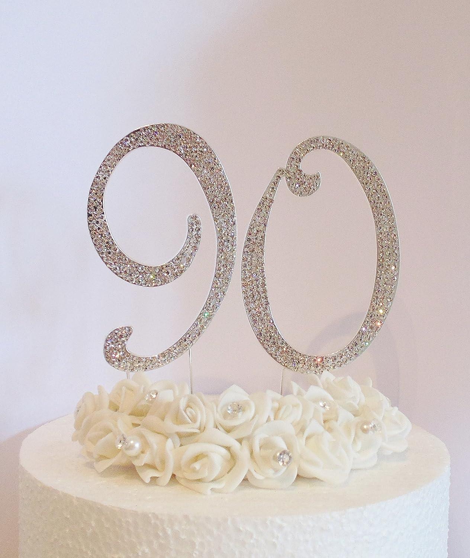 Decoración para tartas 90ª Números de plata grandes de 12 cm ...
