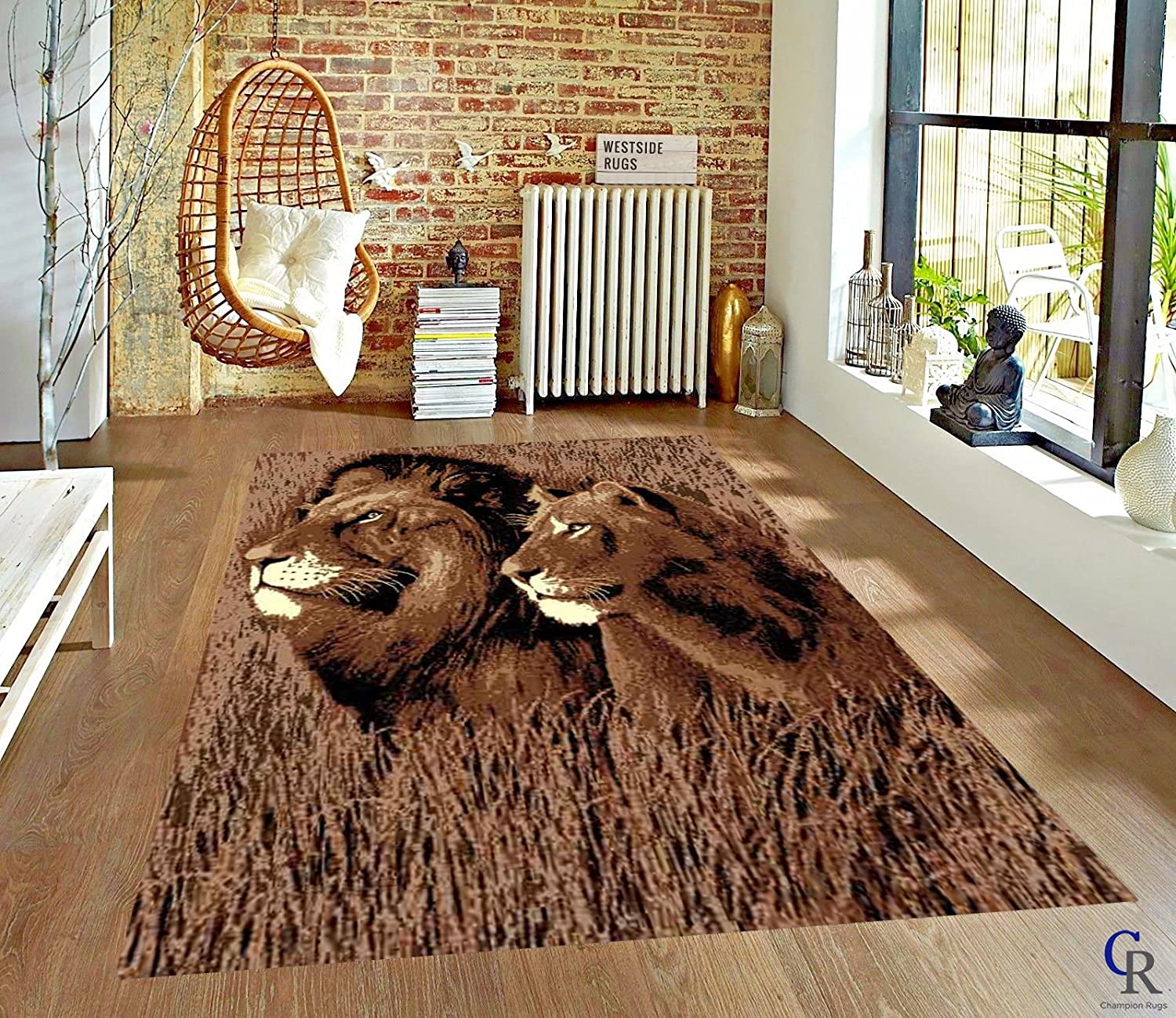 Amazon Com Champion Rugs Safari Lion And Lioness Modern Animal Print African Theme Area Rug 5 3 X 7 5 Kitchen Dining