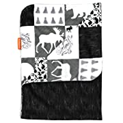 Dear Baby Gear Deluxe Baby Blankets, Minky Print Reversible Mountains, Moose, Bear, Woodgrain Faux Quilt, 38 by 29 Inches