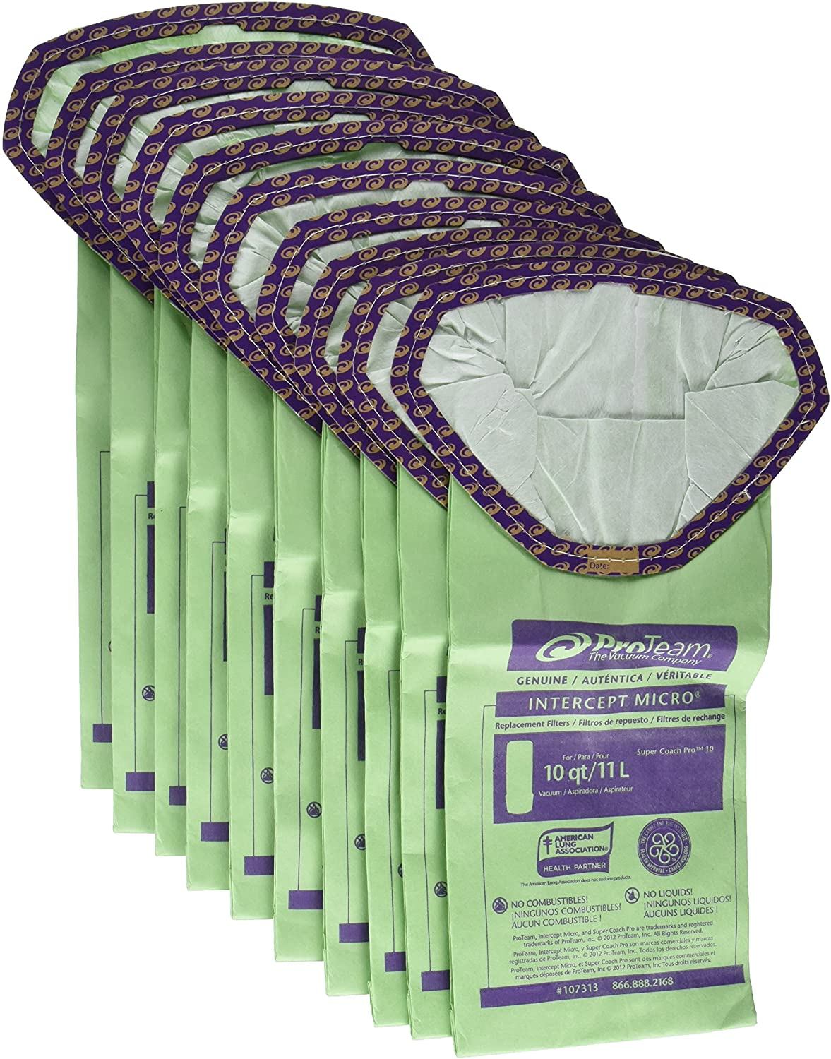 ProTeam Paper Bag, 10Qt Intercept 10 Pack Super Coach Pro 10