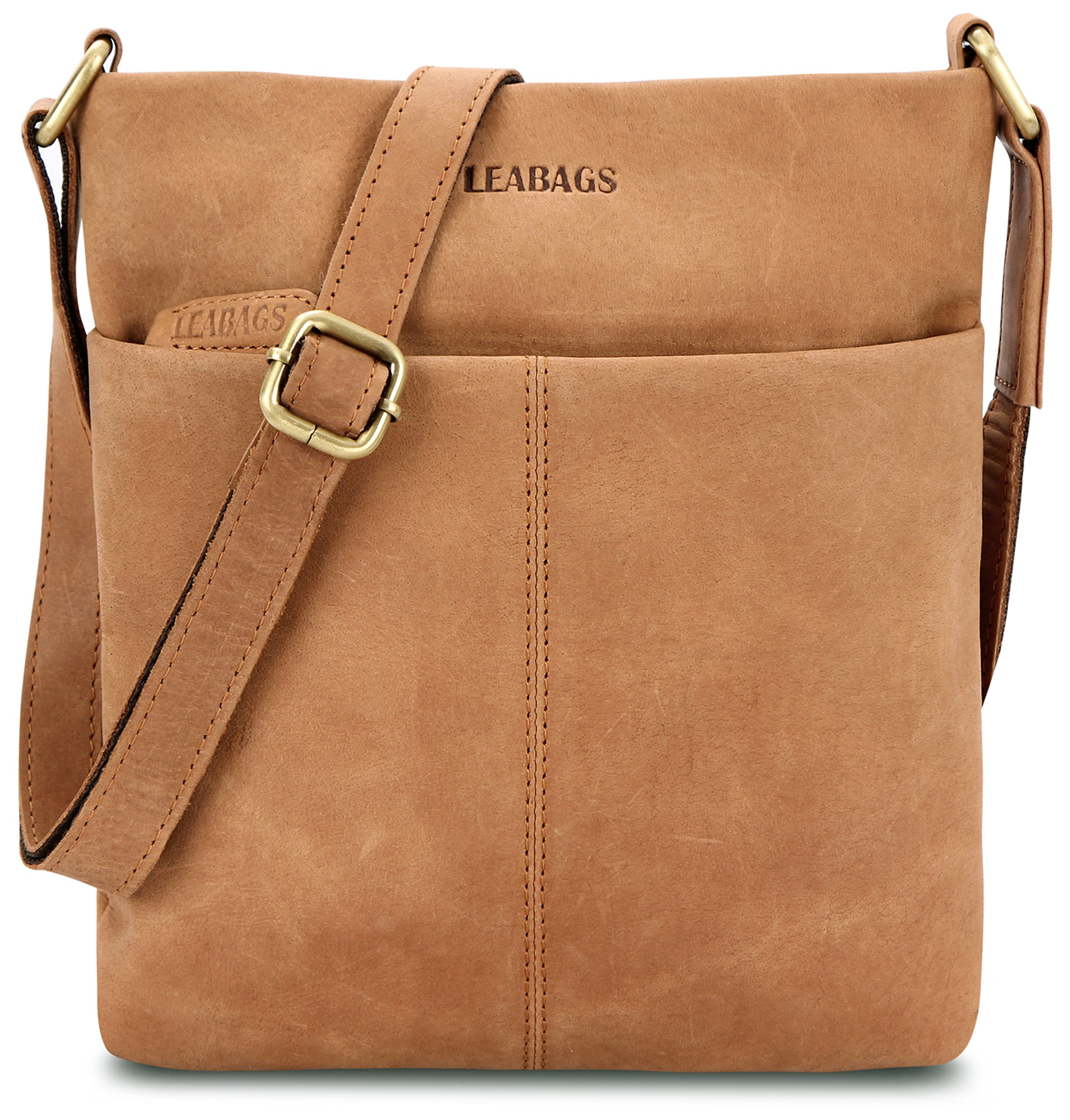 LEABAGS Seattle genuine buffalo leather crossbody bag in vintage style - Brown