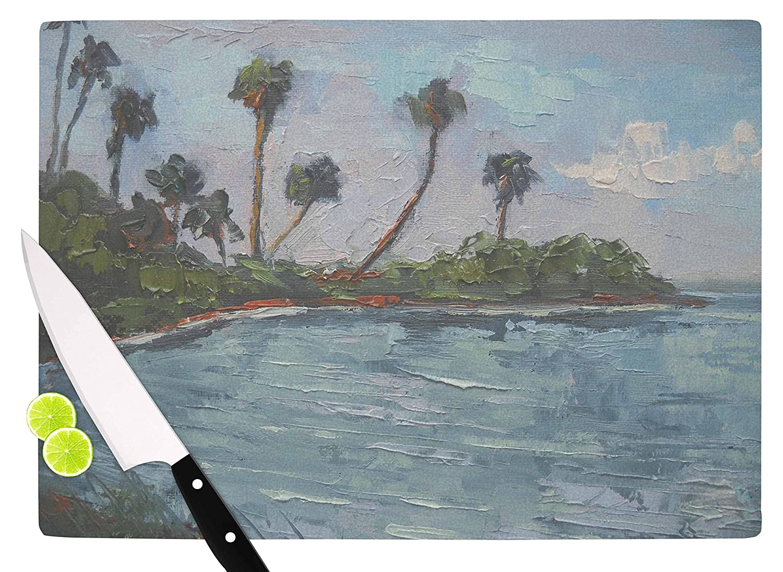 11.5 x 8.25 KESS InHouse CS1034ACB01 Carol SchiffBlue Lagoon Aqua Green Cutting Board Multi