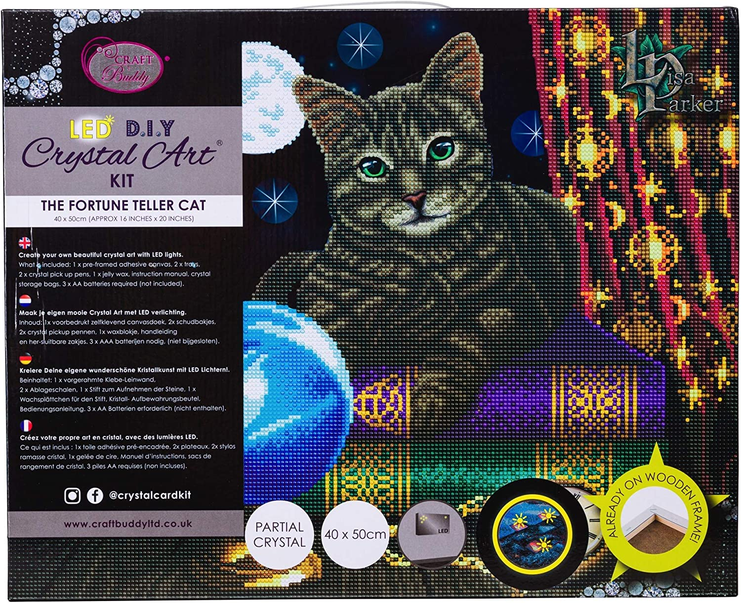 Craft Buddy Kristall Kunst Set mit LED Lichter Die Fortune Teller Katze