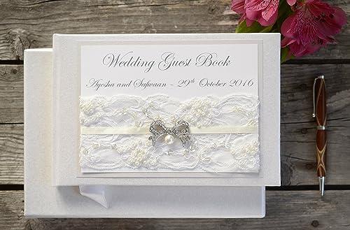 CreativeBridal Luxury Personalised Wedding Guest Book - Vintage ...