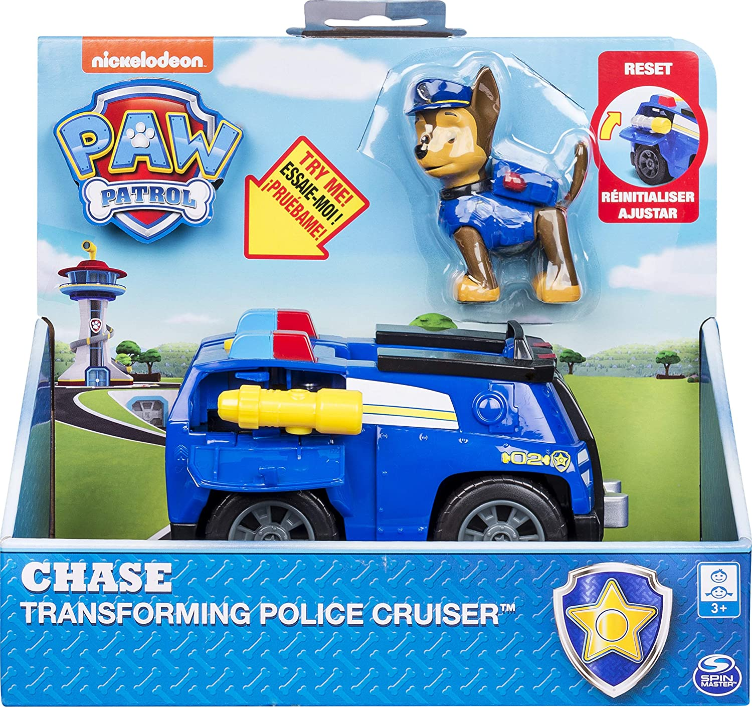PAW PATROL-Chase's with Flip-Open Megaphone, for Ages 3 and Up Chase's Transforming Police Cruiser con megáfono abatible, para Edades de 3 y más, Color Gris (Spin Master 20101360)