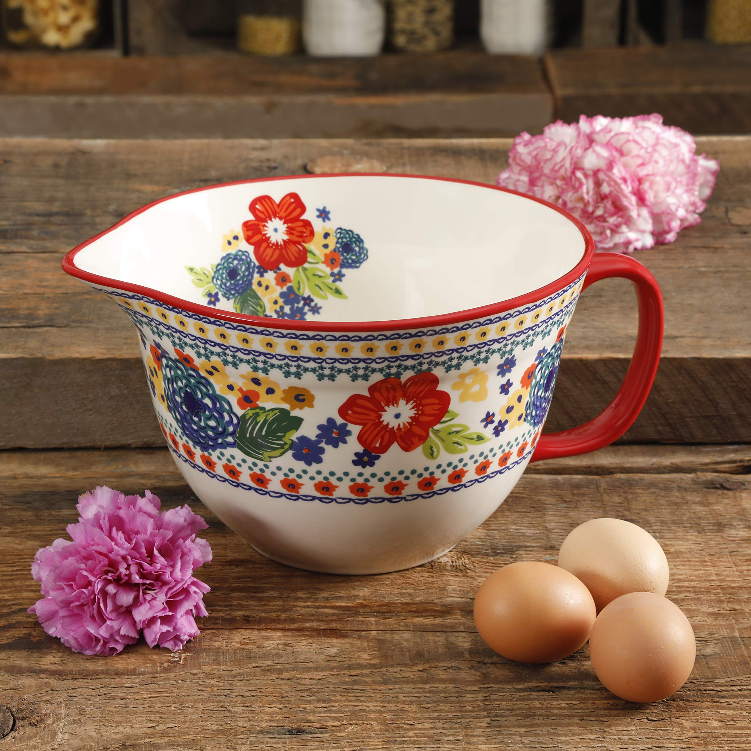 The Pioneer Woman 3.3 Quart Dazzling Dahlias Batter Bowl, 1-Piece bundle with The Pioneer Woman 2-Piece Rectangular Ruffle Top Ceramic Bakeware Set'' by The Pioneer Woman (Image #5)