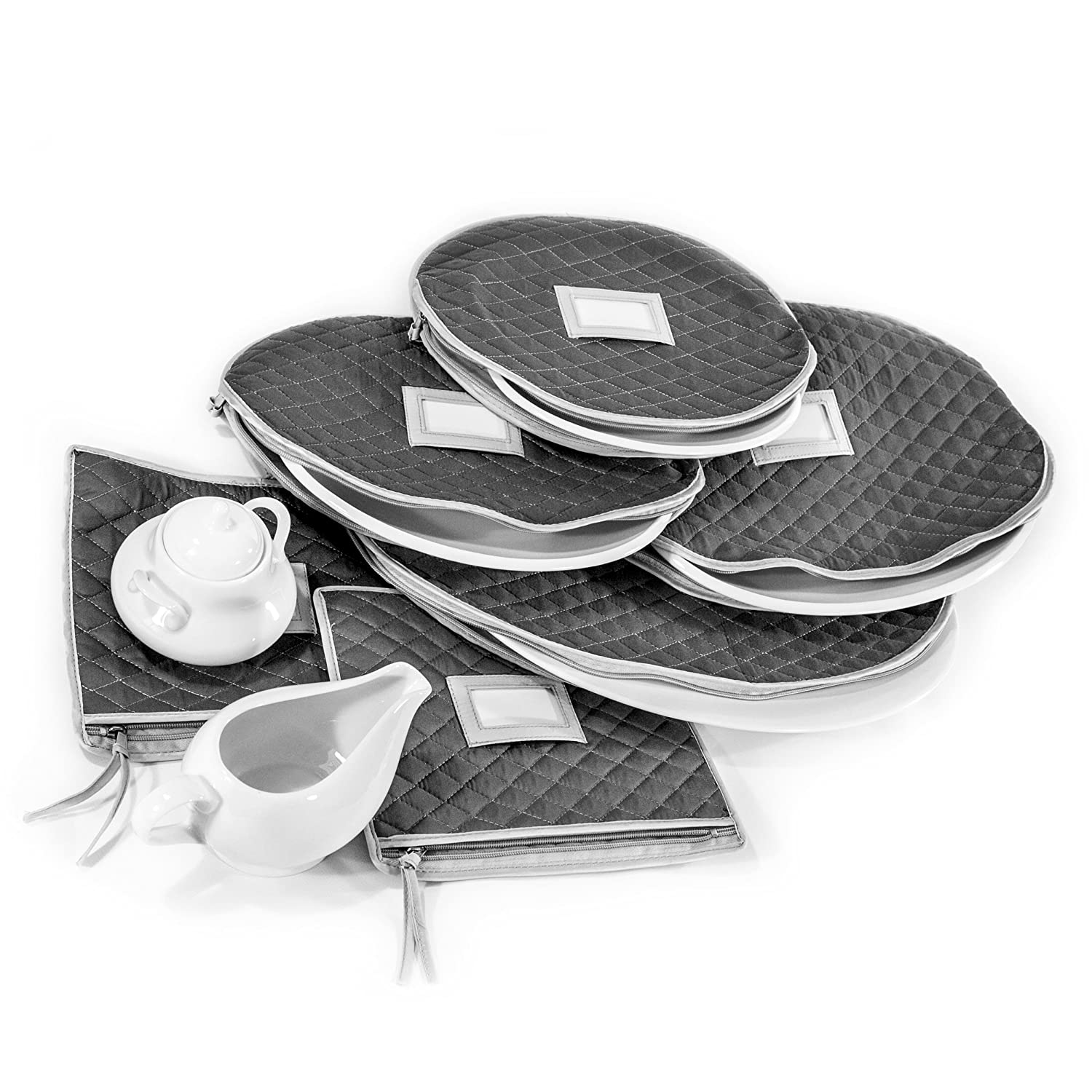 Quilted Cases for Fine China Accessories Storage - Set of 6 - Gray