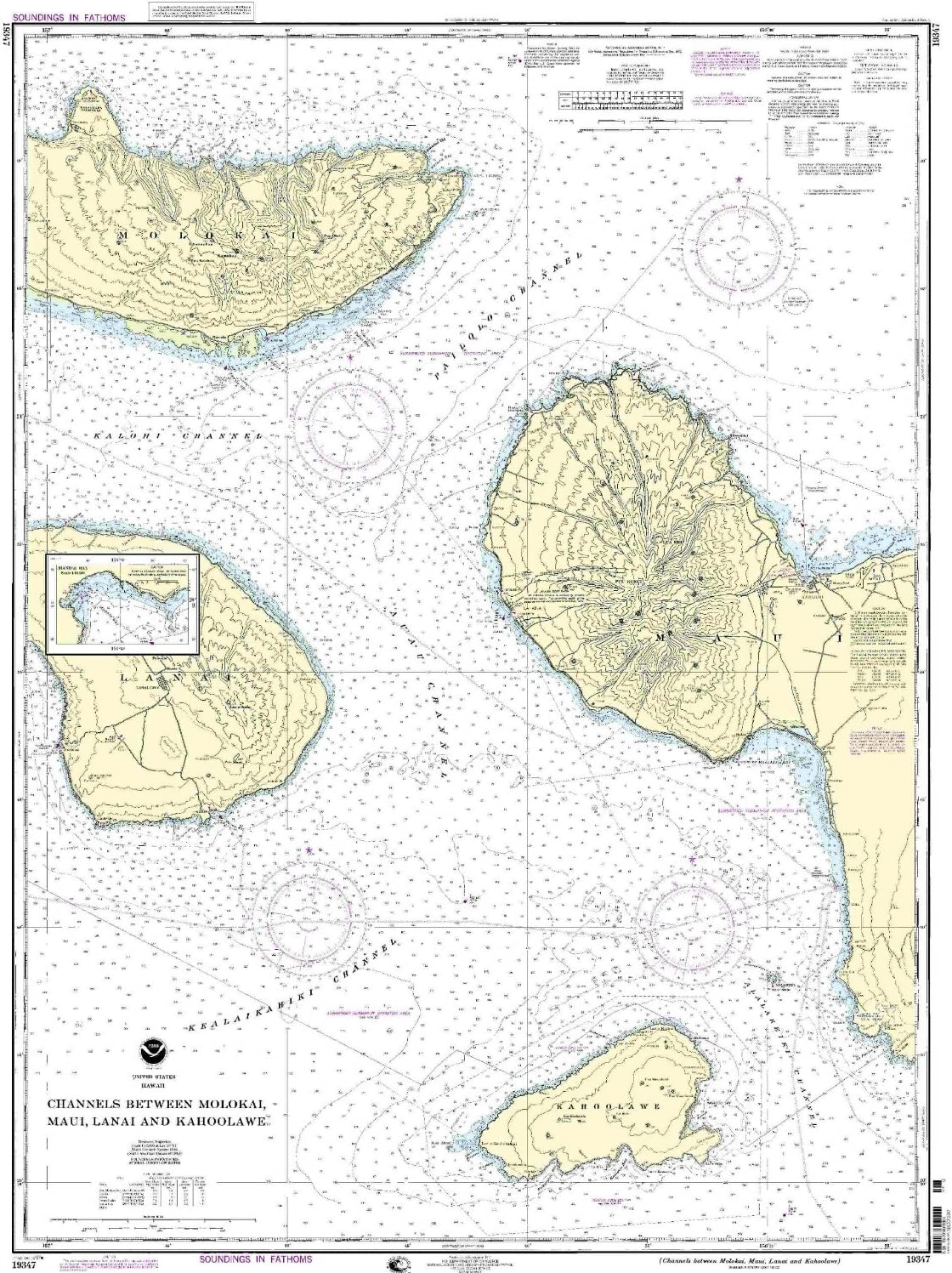 NOAA 19347 - Canales Entre Molokai, Maui, Patio y Kahoolawe ...