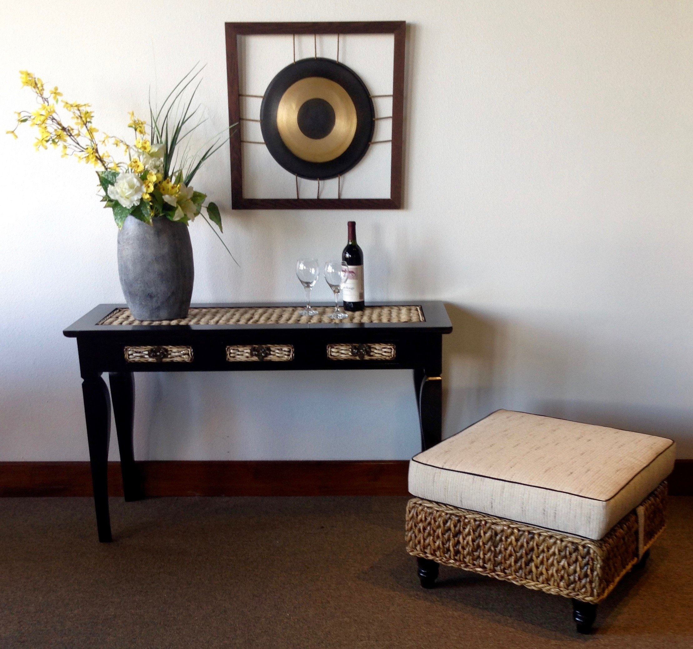 Naples Handwoven Abaca Ottoman Made By Chic Teak