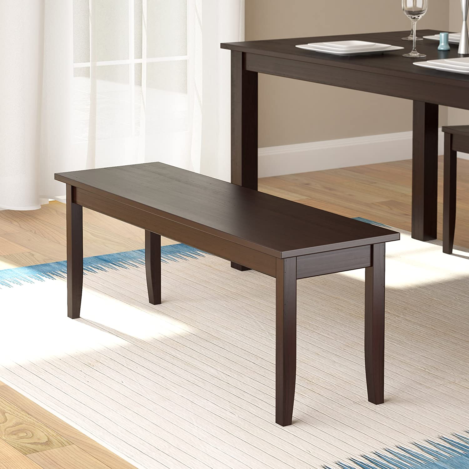 CorLiving Atwood Stained Hardwood Dining Bench, Cappuccino, 42 Wide