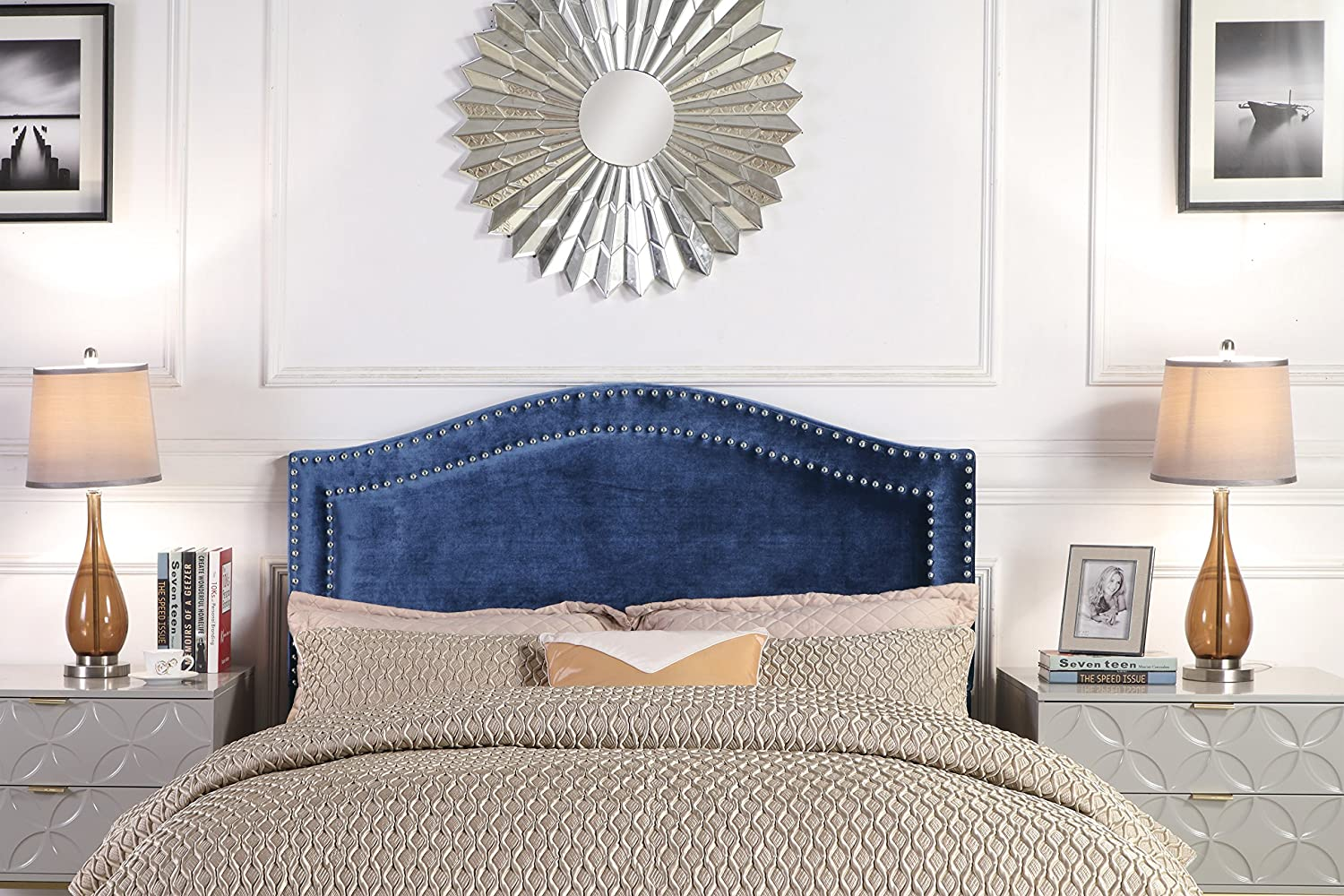 Iconic Home FHB9042-AN Tal. Headboard Velvet Upholstered Double Row Silver Nailhead Trim Modern Transitional, King, Navy