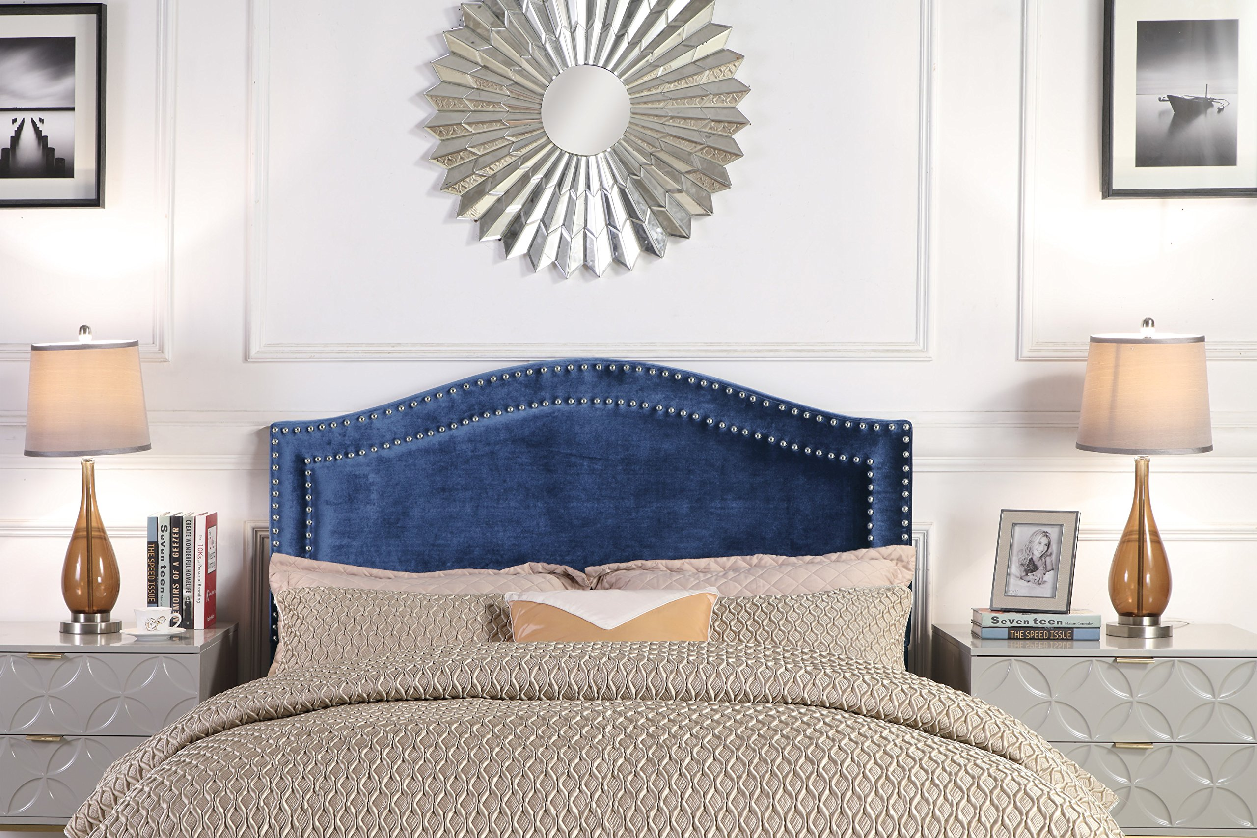 Iconic Home Minerva Headboard Velvet Upholstered Double Row Silver Nailhead Trim, Modern Transitional, Twin, Navy by Iconic Home