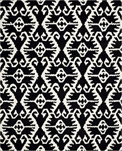 Safavieh Wyndham Collection WYD323D Handmade Black and Ivory Wool Area Rug