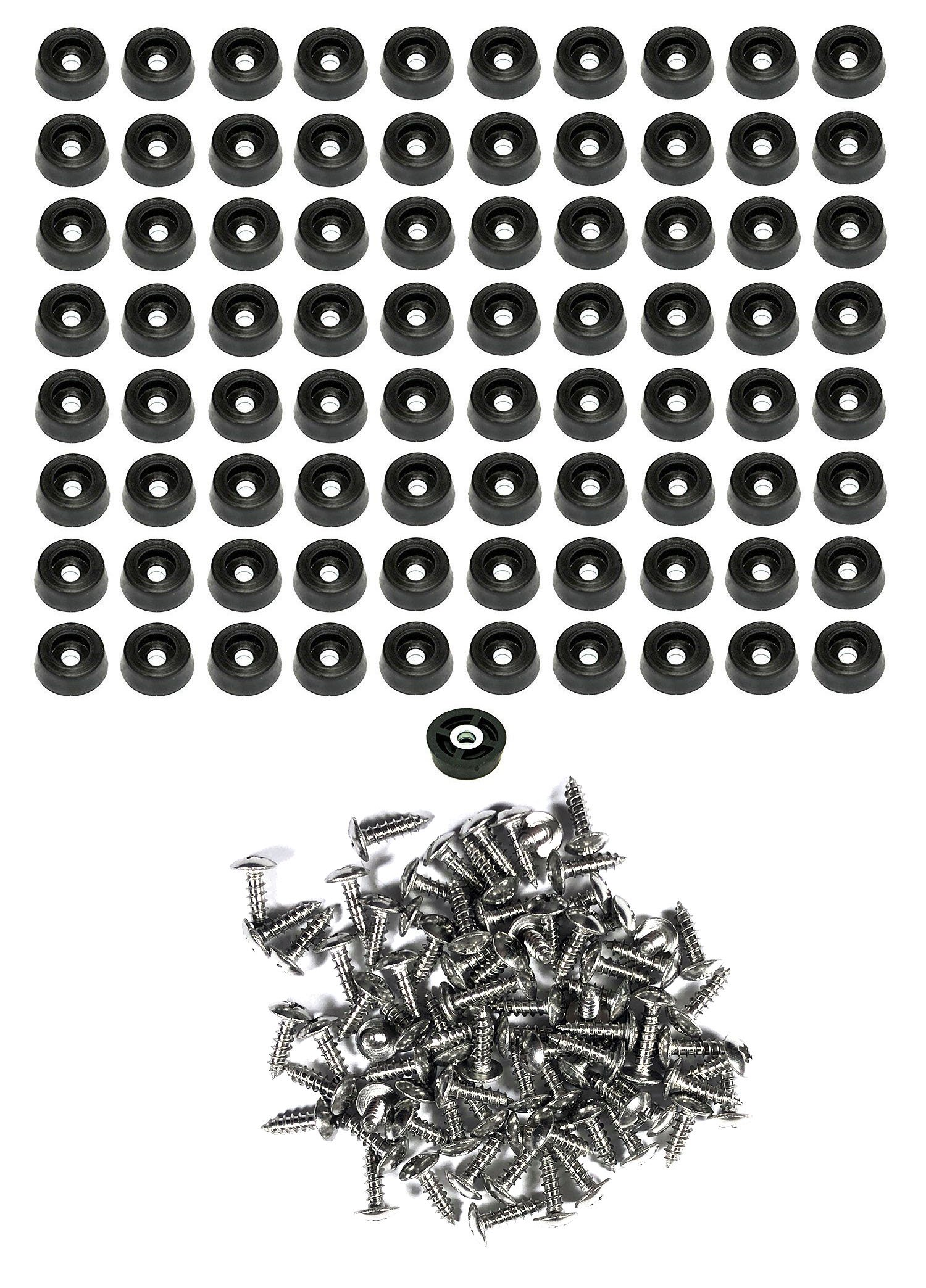 80 Small Round Rubber Feet W/Screws - .250 H X .671 D - Made in USA - Cutting Boards - Food Safe