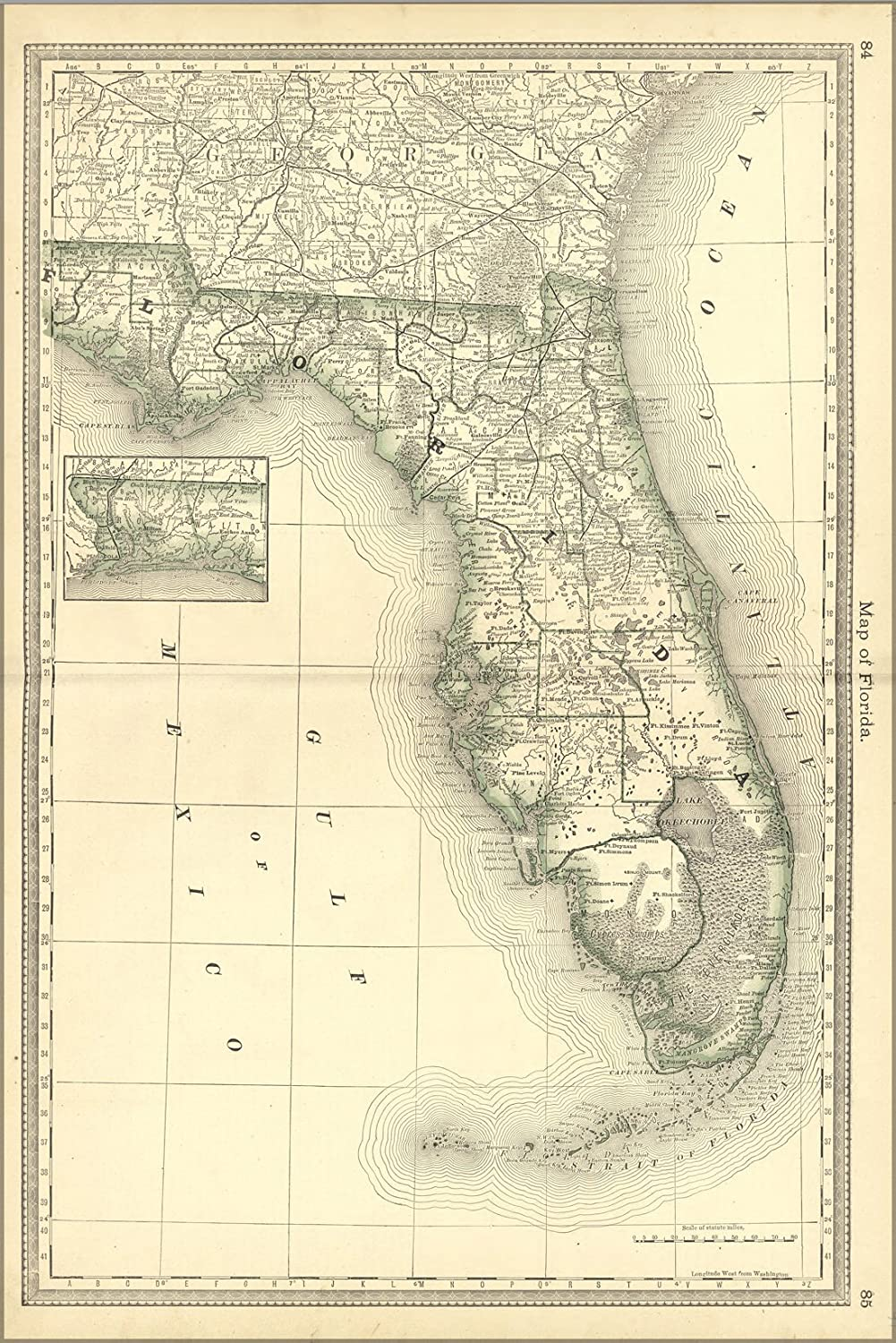 24x36 Poster; Map Of Florida 1881; Antique Reprint on old st. augustine florida map, orlando florida map, florida map with exit numbers, central fl road map, daytona beach florida map, i 95 sc map, florida expressway map, florida schools map, south florida map, florida local map, florida empire map, florida map i-95, i 75 fl map, florida turnpike map, jacksonville florida map, florida route map, florida general map, florida map mileage, florida map location of dunes, florida oregon map,