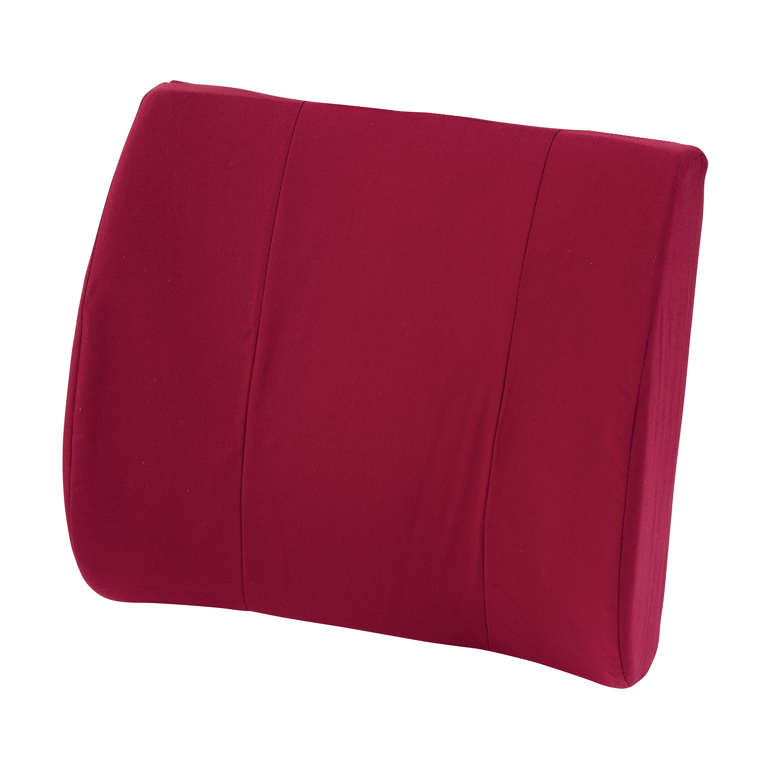 Duro-Med Relax-A-Bac, Lumbar Cushion, Lower Back Support Pillow With Wooden Lumbar Support Board and Alignment Strap, Burgundy