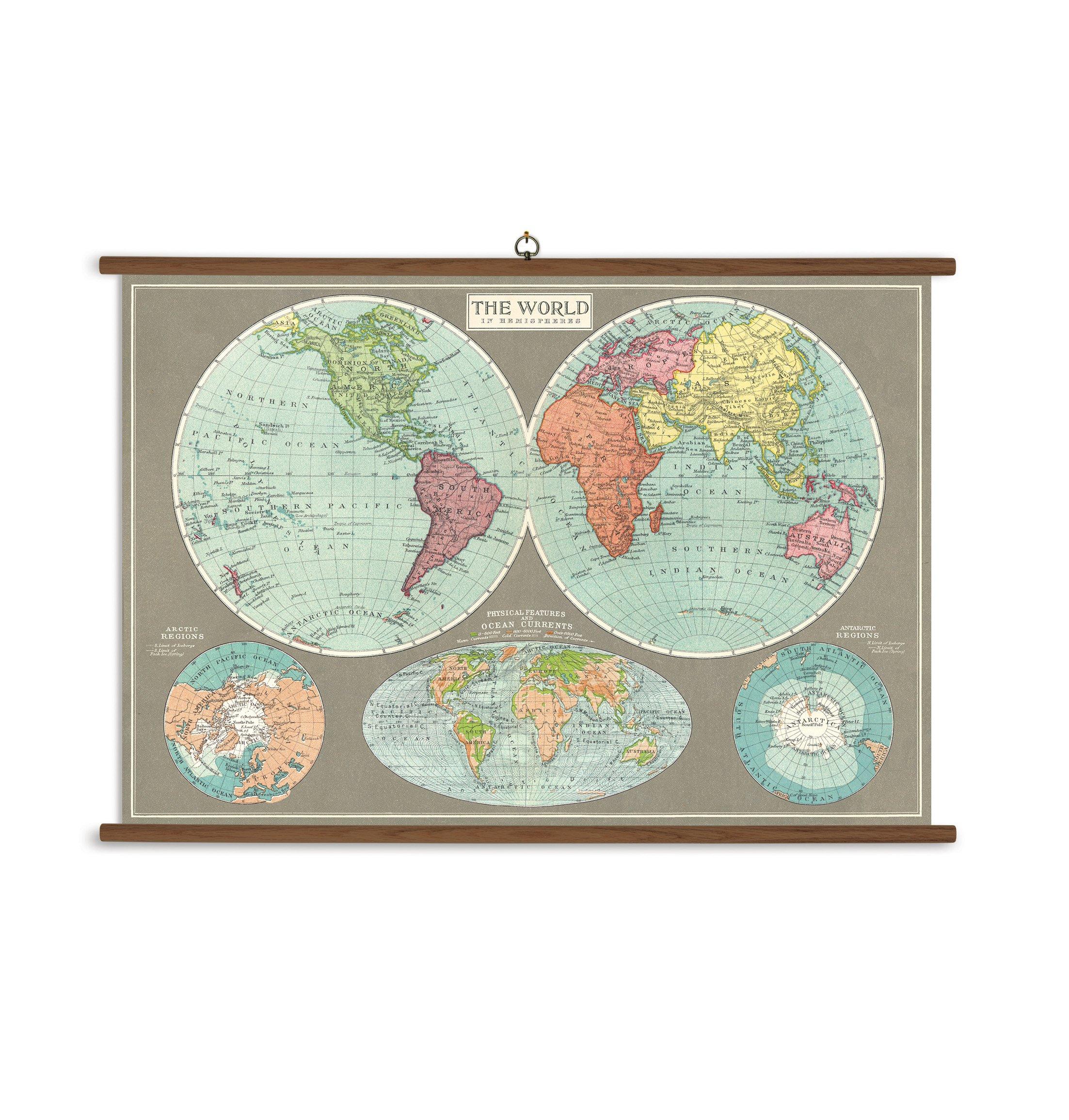 Cavallini Papers & Co., Inc. VSC/MAPHEM Hemispheres Map Cavallini Hemispheres Map Vintage School Chart
