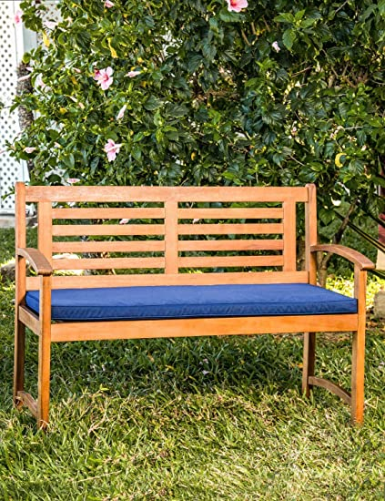 Groovy Living Essentials Outdoor Furniture 4Ft Garden Bench Acacia Wood Navy Blue Cushions Backyard Porch Patio Poolside Natural Finish Cjindustries Chair Design For Home Cjindustriesco