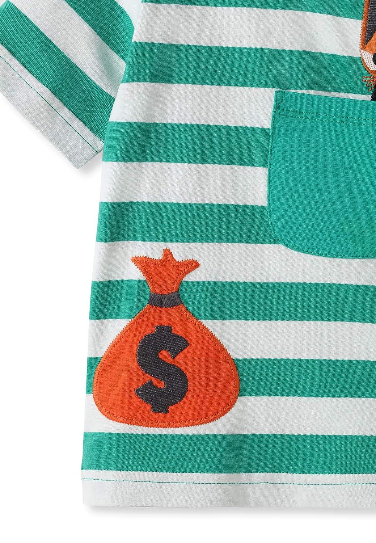 0-2Y kIDio Bandit Rabbit Applique Organic Cotton Green Stripes T-Shirt Baby Boy Girl