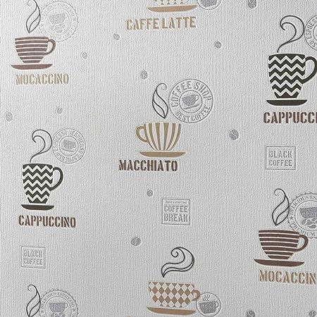 Kitchen Wallpaper Mugs Utensils Cream Coffee Brown Paste The