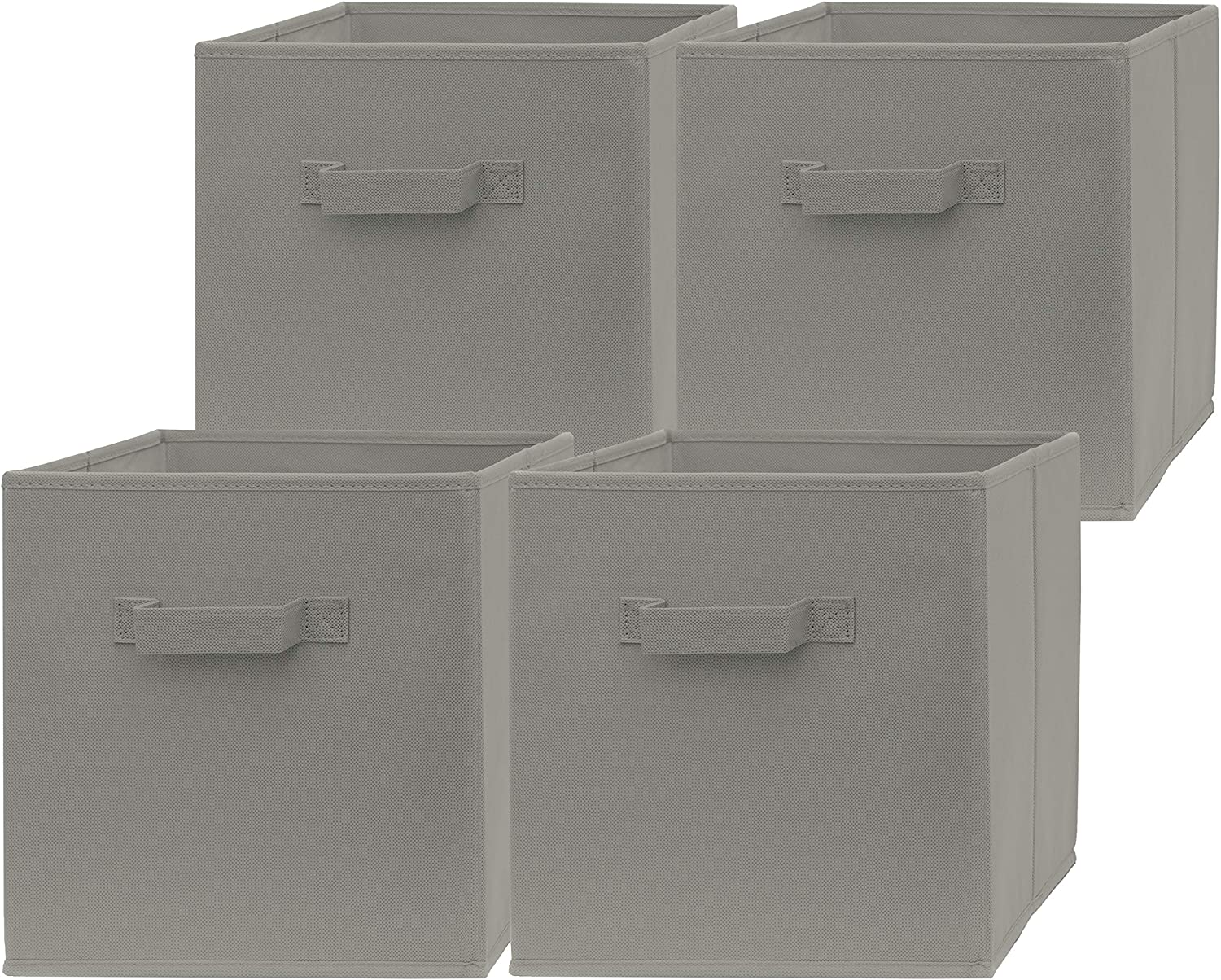 Pomatree 13x13x13 Inch Storage Cubes - 4 Pack - Large and Sturdy Storage Bins   Dual Handles, Foldable   Cube Organizer Bin   Fabric Baskets for Organizing Closet, Clothes and Toys (Grey)