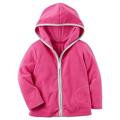 Carters Girls Fleece Zip Up Hoodie Pink 6 Months