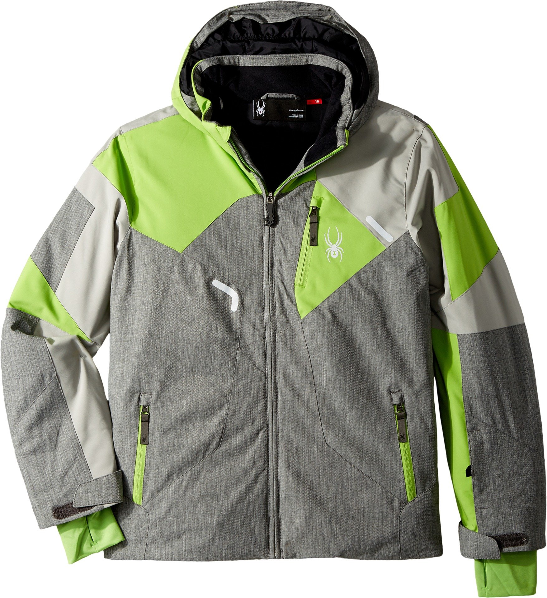 Spyder Kids Boy's Leader Jacket (Big Kids) Polar Herringbone/Limestone/Fresh 8 by Spyder