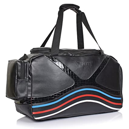 a8f02b9f73 Suntop Diablo Faux Leather Duffel Bag for Travel Gym Bag with Shoe  Compartment (Black)  Amazon.in  Bags