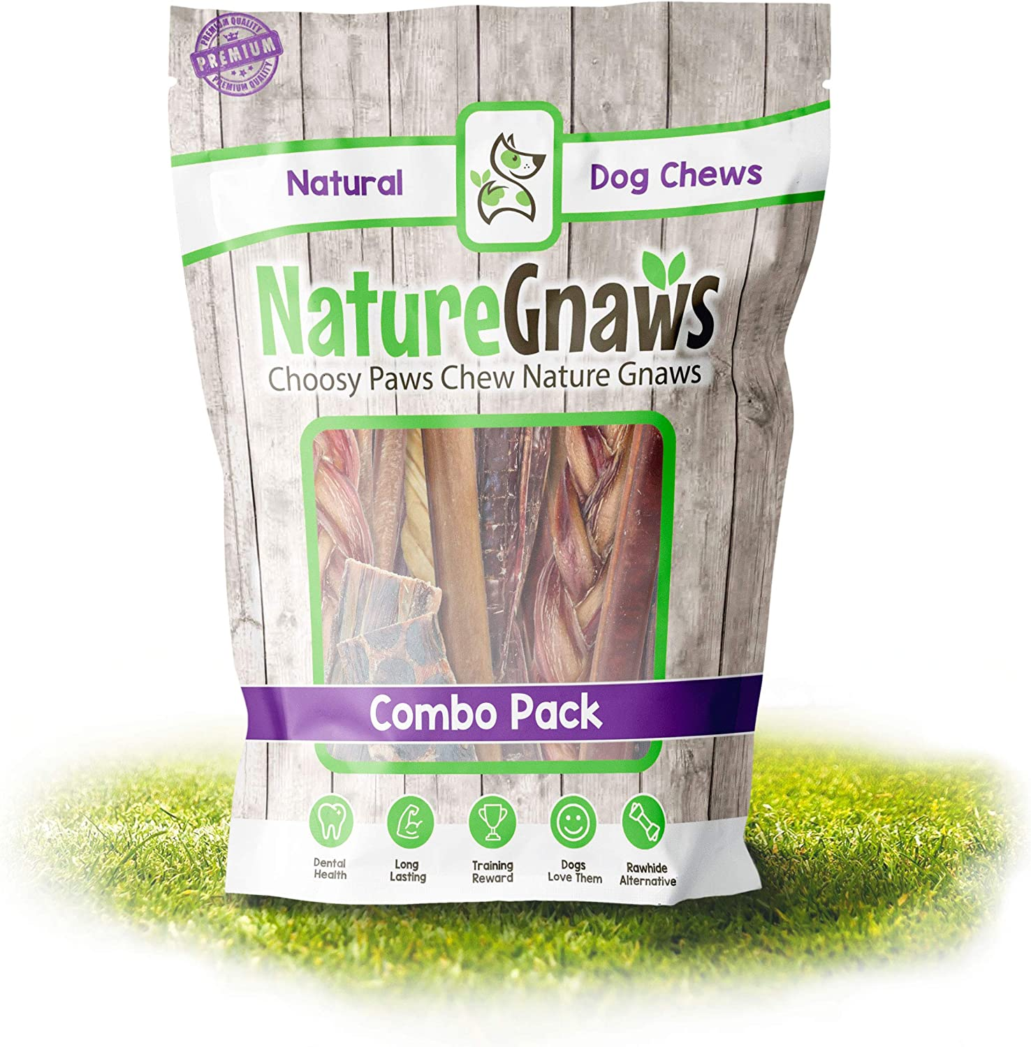 Nature Gnaws Variety Pack - 100% Natural Dog Chew Treats - Combo Pack of Single Ingredient Bully Sticks, Tendons and Jerky Chews for Dogs