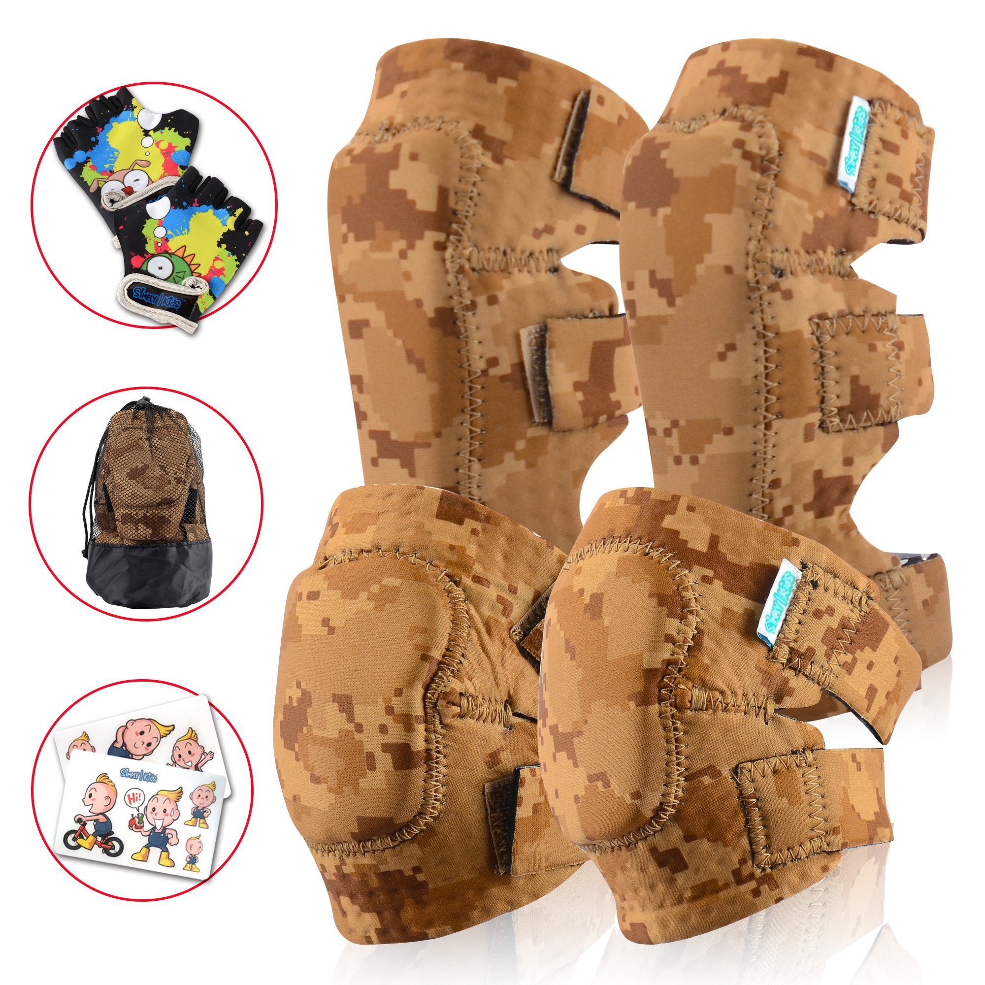 Innovative Soft Kids Knee and Elbow Pads Plus BONUS Bike Gloves | Toddler Protective Gear Set | Comfortable, Breathable & Safe | Roller-Skate, Skateboard, Rollerblade & BMX Kit w/Mesh Bag & Sticker by Simply Kids