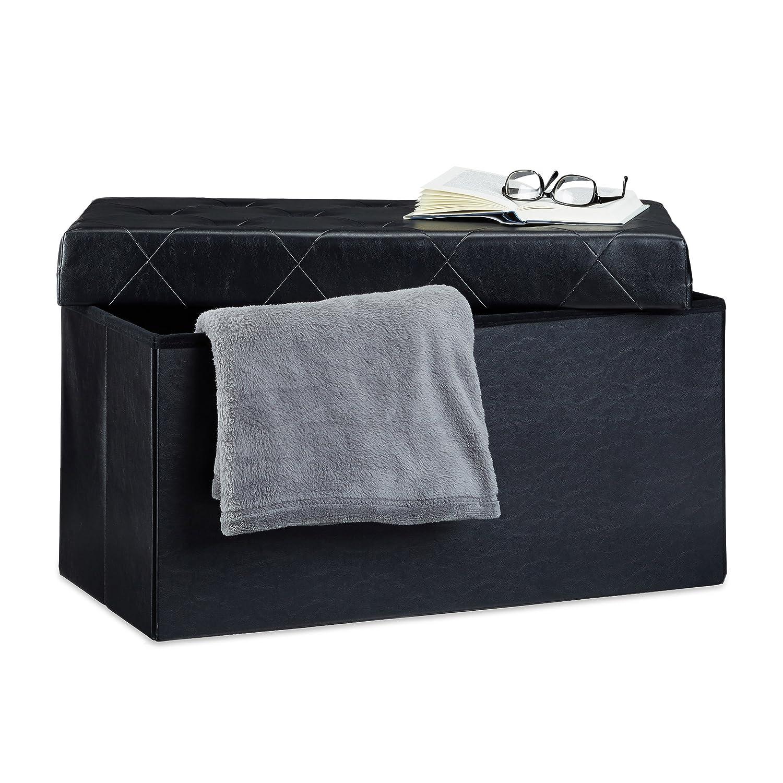 Relaxdays Panchina pieghevole, con scatola per conservarla nello sgabuzzino, sgabello, similpelle, crema, 38 x 78 x 38 cm 10021192_550
