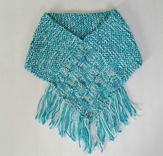 Amazon Com Hand Knit Cowl Aqua Turquoise Cowl Neck Warmer Scarf