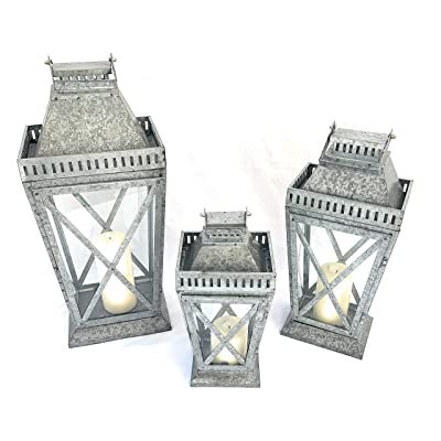 Large 69cm H x 33cm W x 52cm Metal /& Glass Lantern Victorian Style Galvanized Pillar Candle Holder Perfect Hanging Centerpiece Ideal for Home Decor Weddings Christmas Events