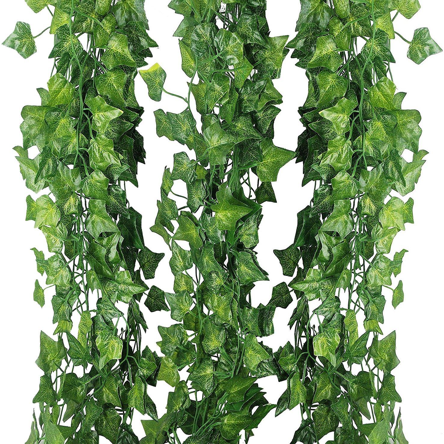 Pianta rampicante finta, 12 fili x 24 m (80 ft), edera rampicante, foglie verdi in seta, decorazione da interni ed esterni (casa, ufficio,cucina,balaustra, giardino, muro) per matrimonio Antspirit