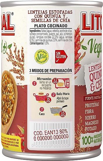Litoral Vegetal Lentejas Quinoa Chía - 415 gr: Amazon.es ...