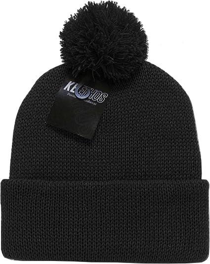 e0937e07d64 Amazon.com  KBW-30 BLK Solid POM POM Beanie Skull Cap Hat  Sports   Outdoors