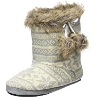Ladies Knitted Fairisle Lined Bootie Slippers With Cosy Faux Fur Trim & Pompoms